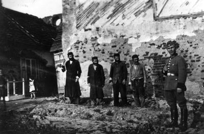 Babi on Soldier Stands Near Four Jews By A Wall Lubartow Poland