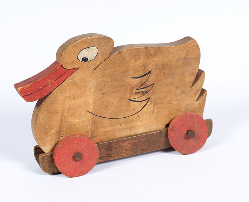 A hollow wooden duck that was used to smuggle documents. The toy was used by Judith Geller in the course of her activities in the French Resistance, in her guise as a social worker visiting children
