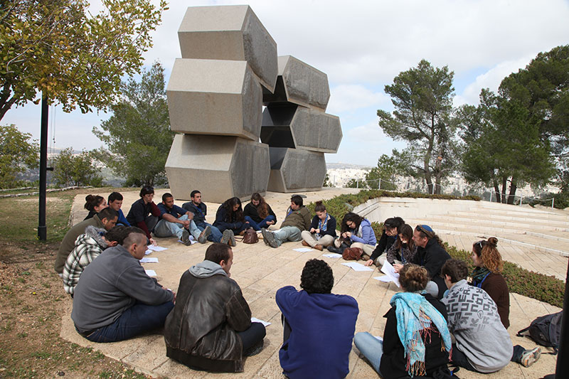 Students participating in an educational activity at Yad Vashem