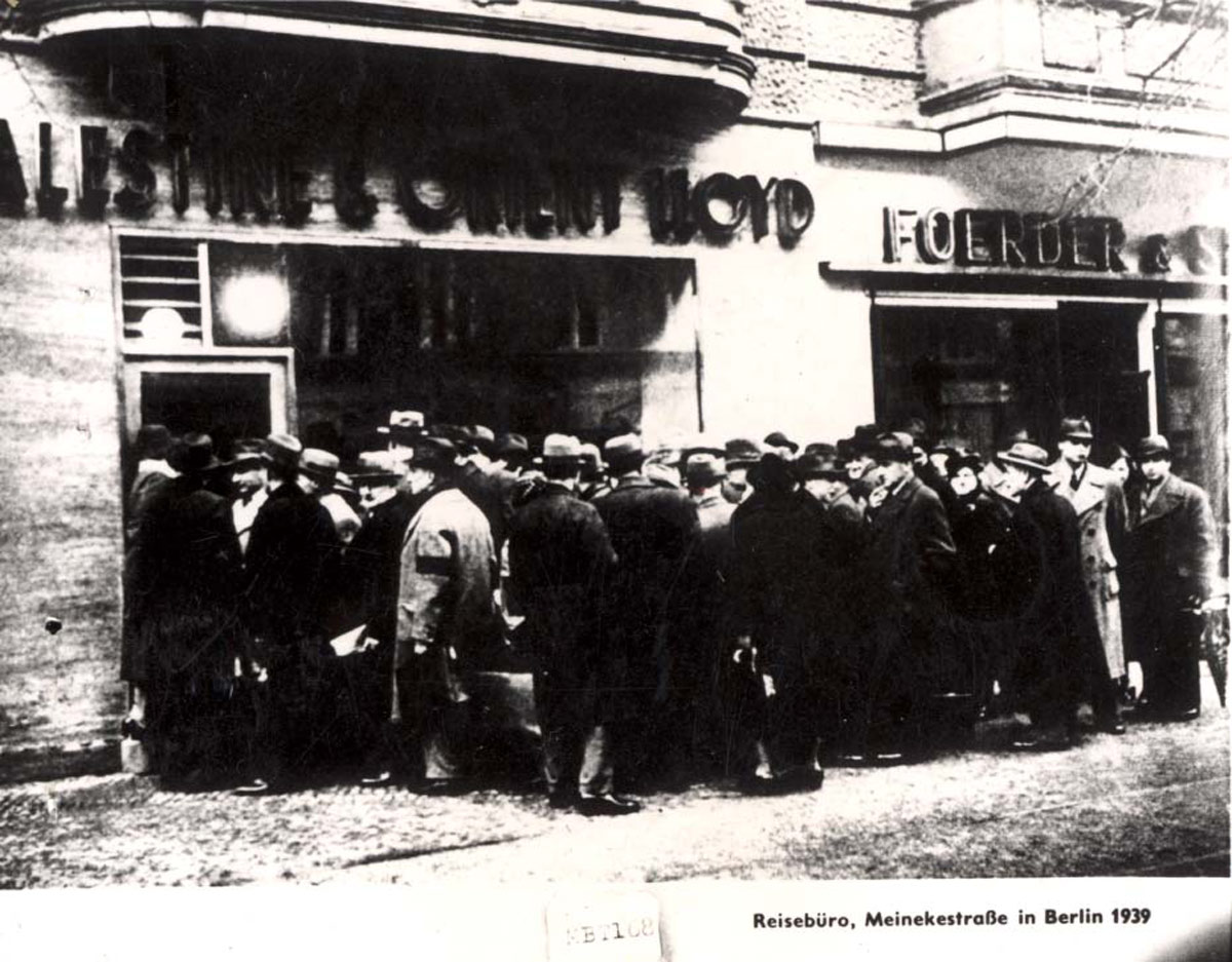 Berlin, Germany, 1939, Jews Waiting in Line in Front of a Travel Agency