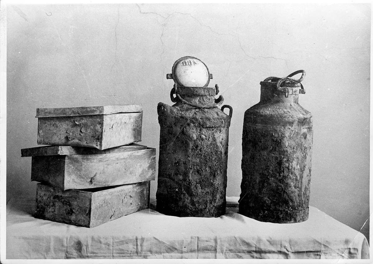 Warsaw, Poland, Boxes and Jugs in which the Ringelblum Archives Were Concealed