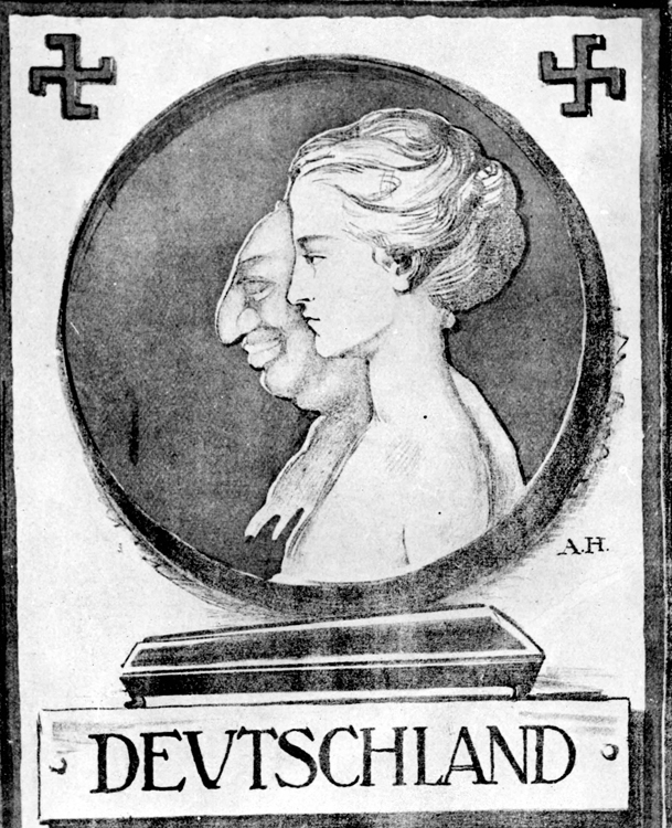 Germany, Side-by-side Profiles of a Stereotyped Jew and an Aryan Woman
