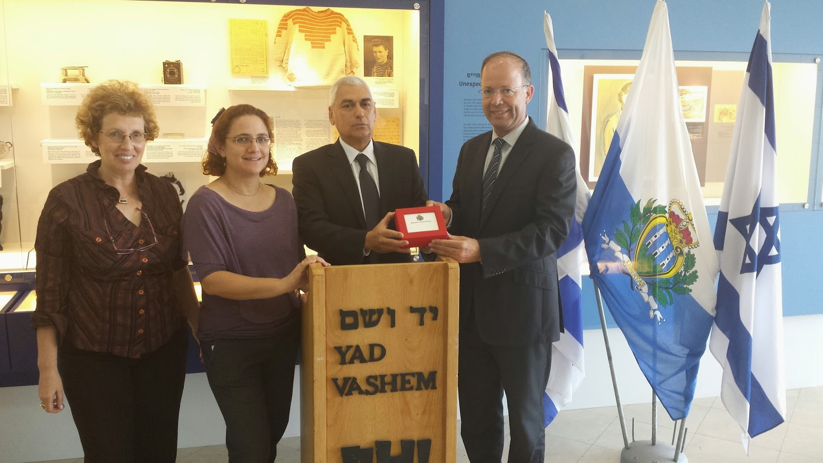 Masha Yonin, Director Archival Acquisition Dept., Yad Vashem Archives, Dr. Anat Kutner, Deputy Director Archival Acquisition Dept., Yad Vashem Archives, San Marino Ambassador at Large H.E. Mr. Yosef Gershon and Dr. Haim Gertner, Director of the Yad Vashe