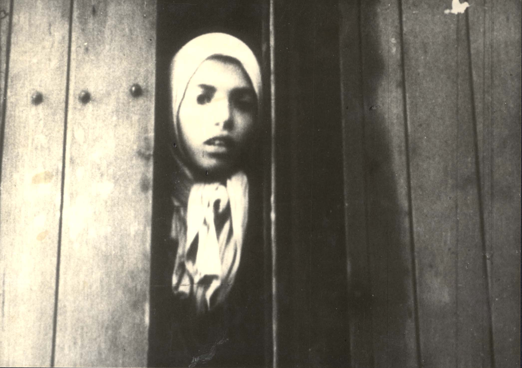 Westerbork, Holland, a Gypsy girl Settela Steinbach staring out of a deportation train, 15/05/1944