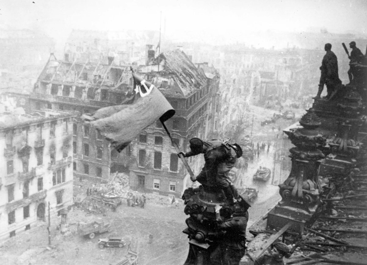 Berlin, Germany, The Soviet flag flying from the Reichstag building, 02/05/1945