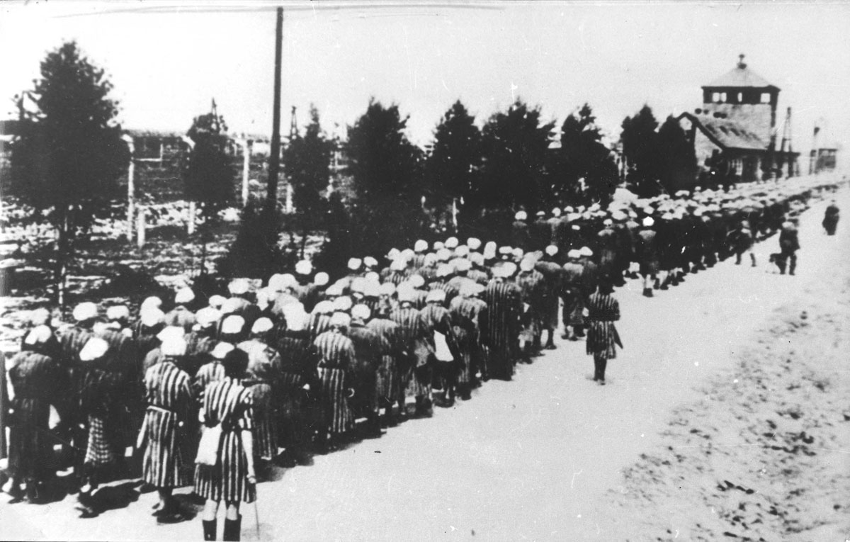 Inmates of Ravensbrück returning to camp from work