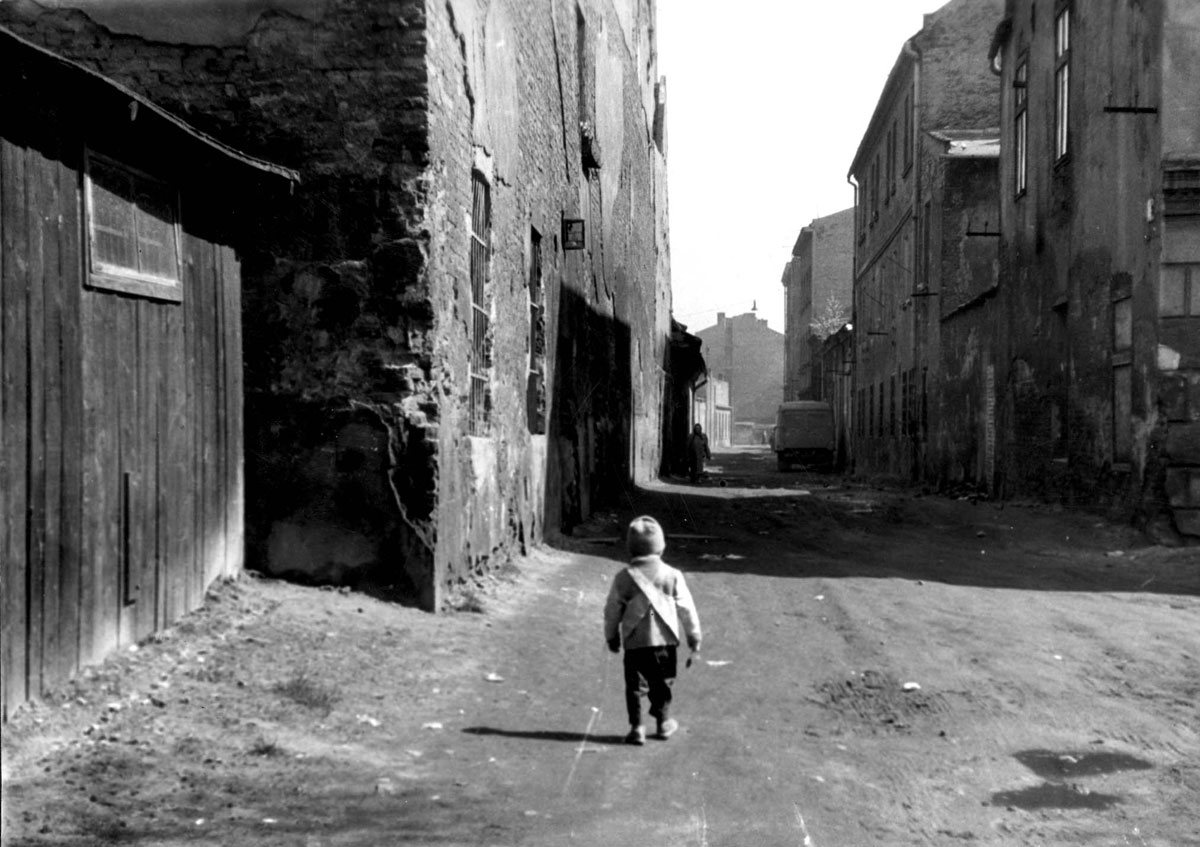 Krakow, Poland, a boy in a ghetto street