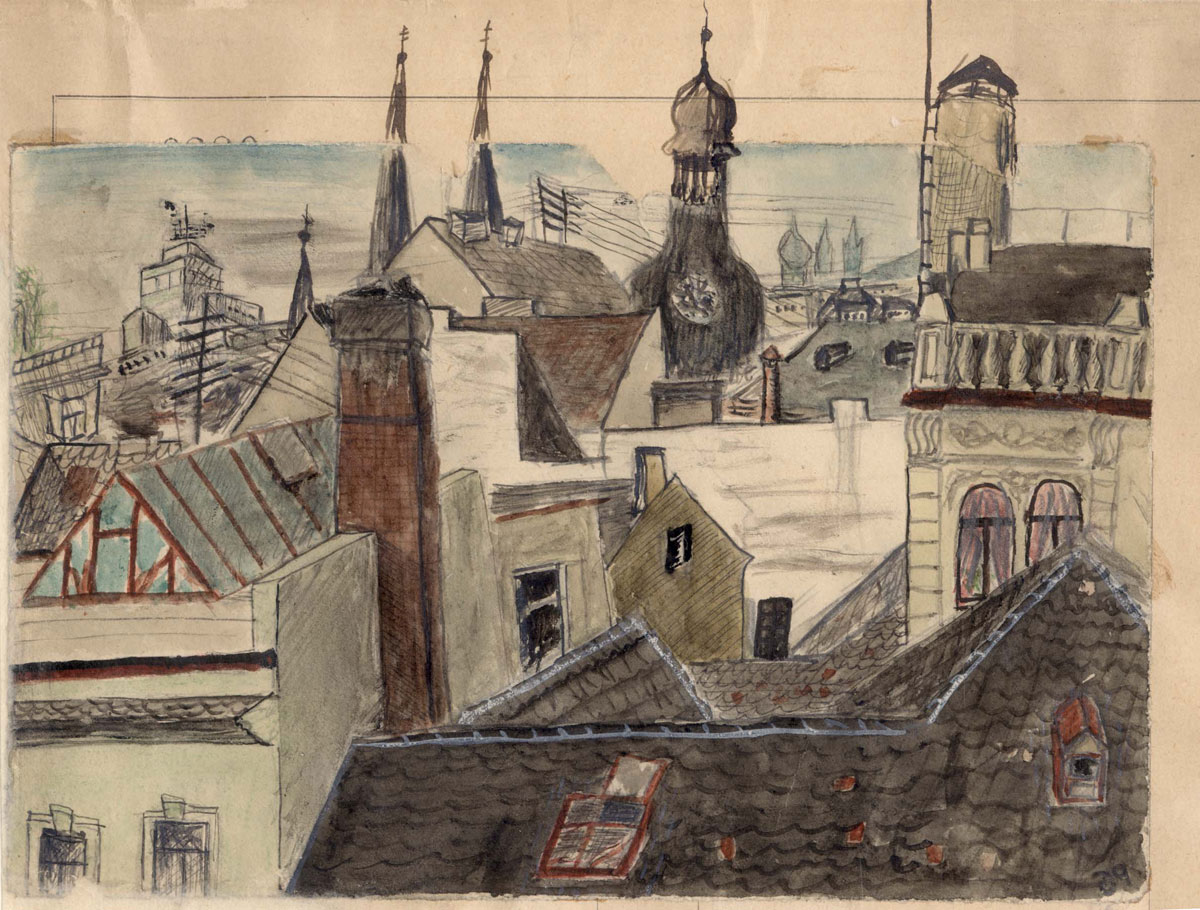 Petr Ginz (1928-1944), Rooftops and Towers of Prague, 1939. Watercolor and India ink on paper