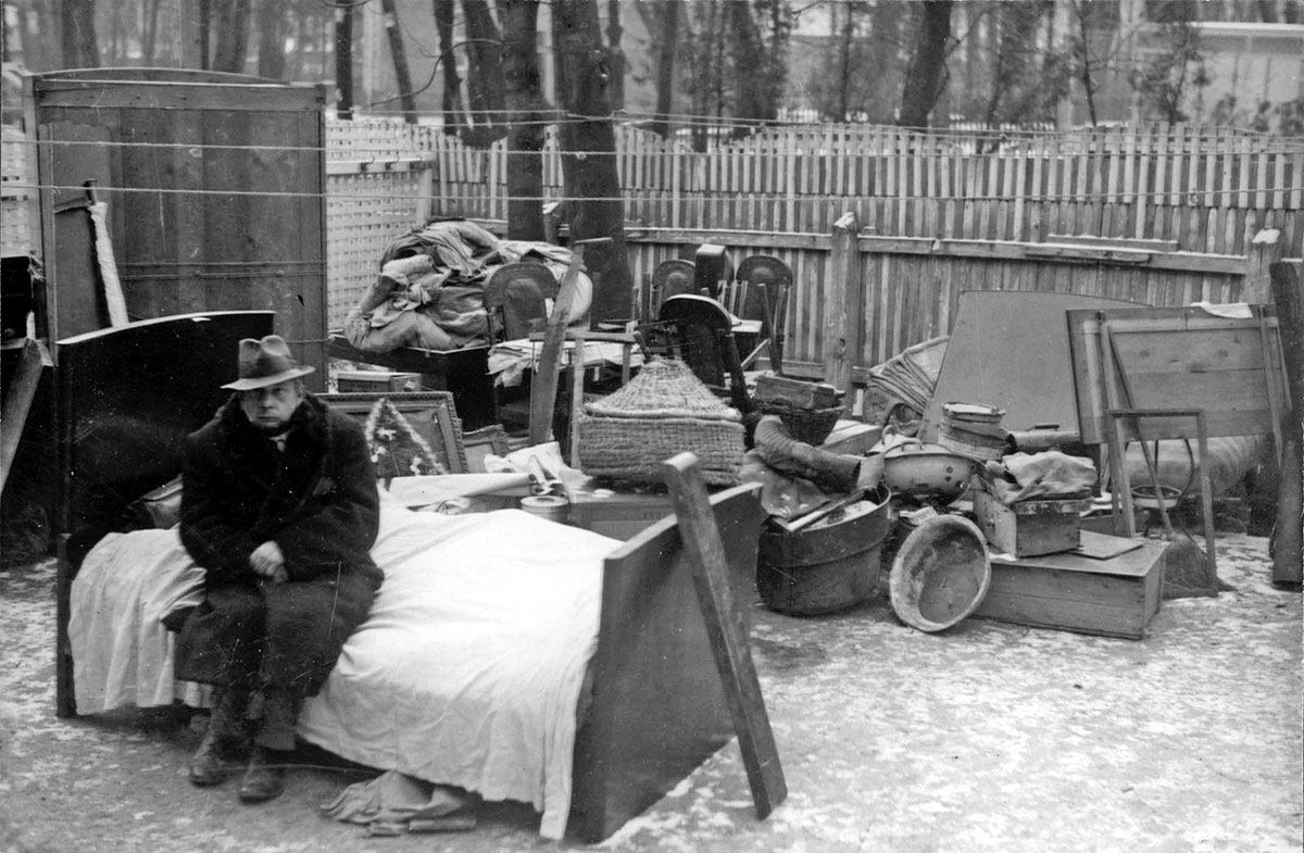 Budapest, Hungary, A homeless Jewish man in the ghetto