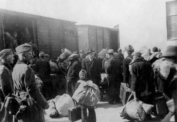 German soldiers supervising the deportation of Jews, Hungary, 1944