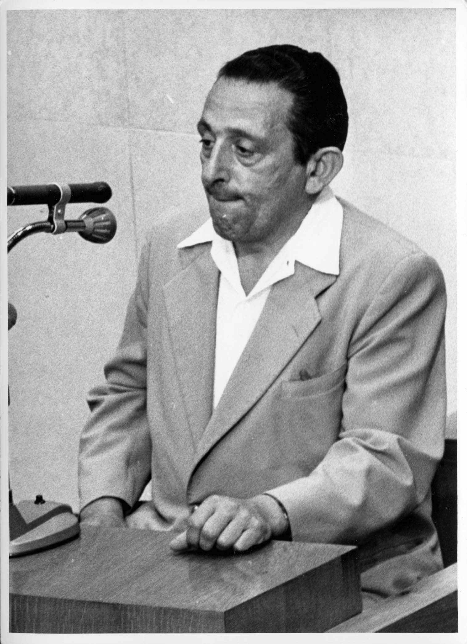 Jerusalem, Israel, a photograph of the witness Henryk Ross giving testimony at the Eichmann trial, 1961