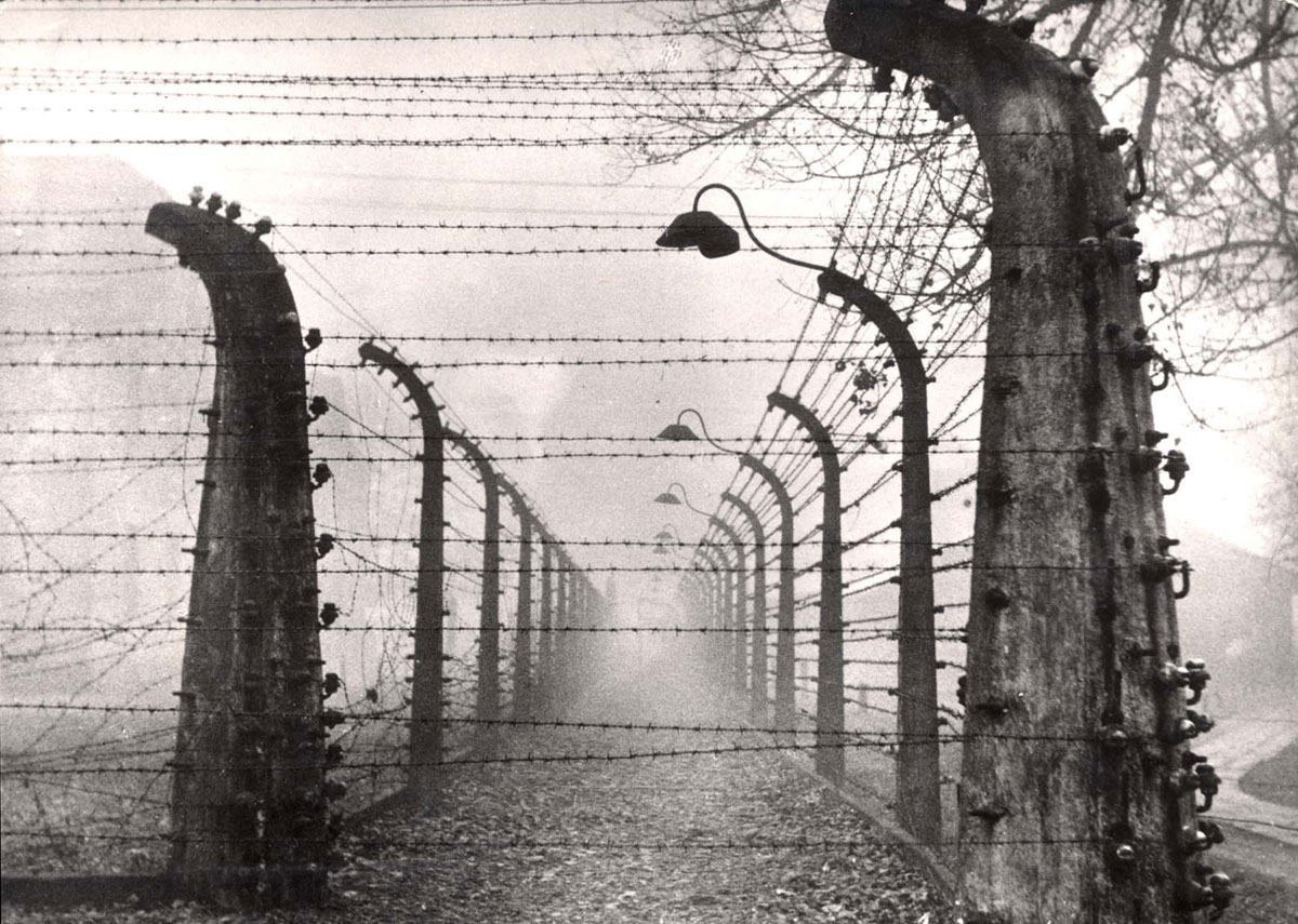 Auschwitz, Poland, postwar, barbed wire fences in the camp