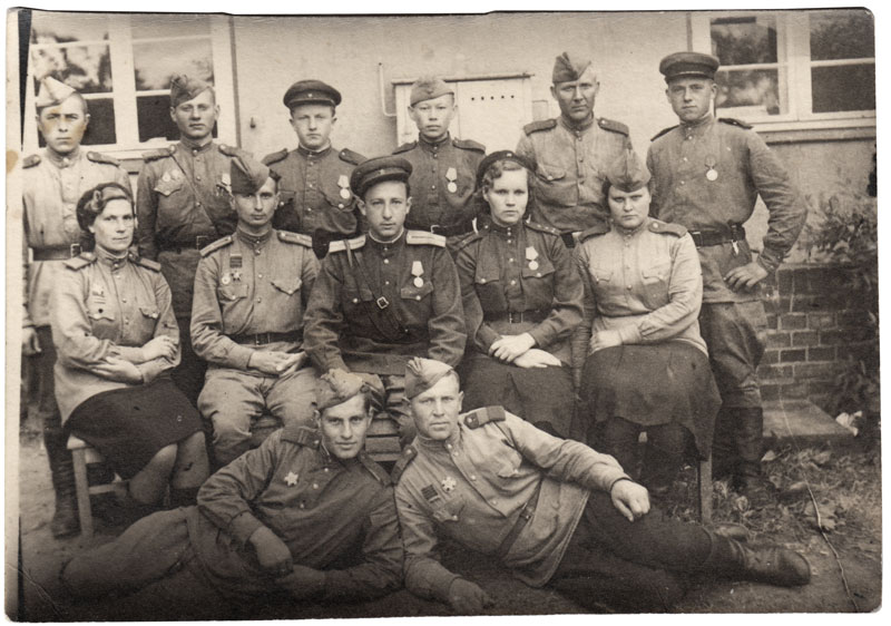 Boris Komskii, second row in the center, Brandenburg, June 1945