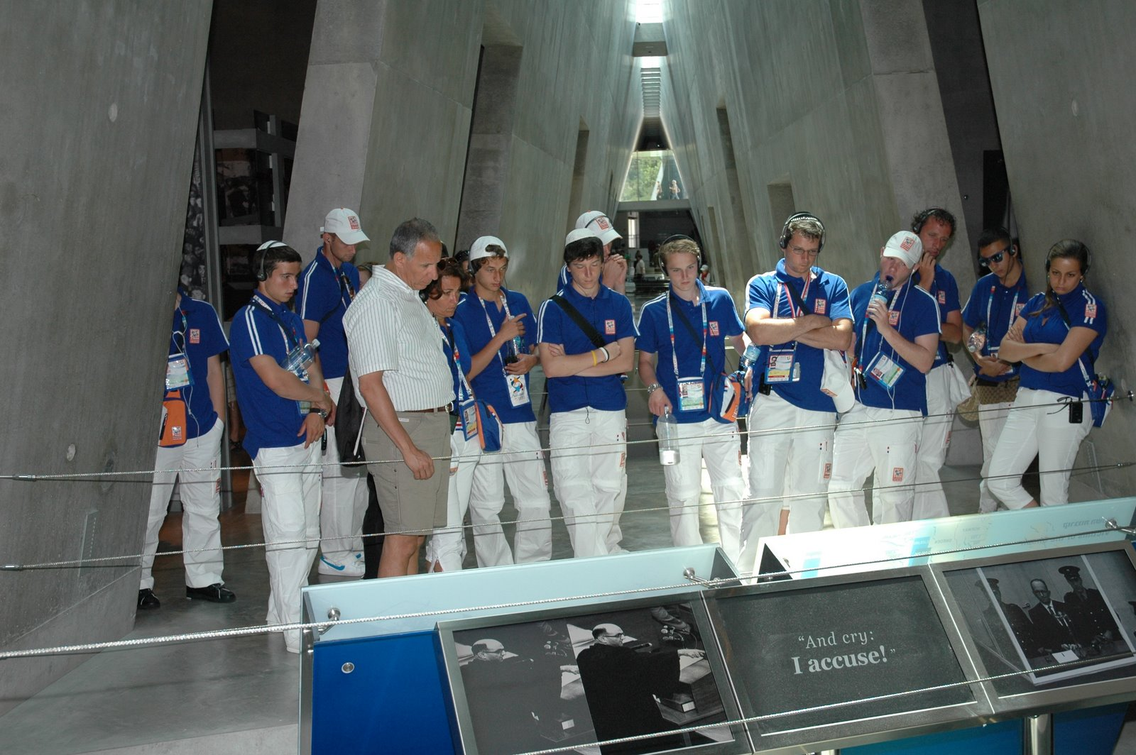 Young athletes from Holland at the Yad Vashem Holocaust History Museum