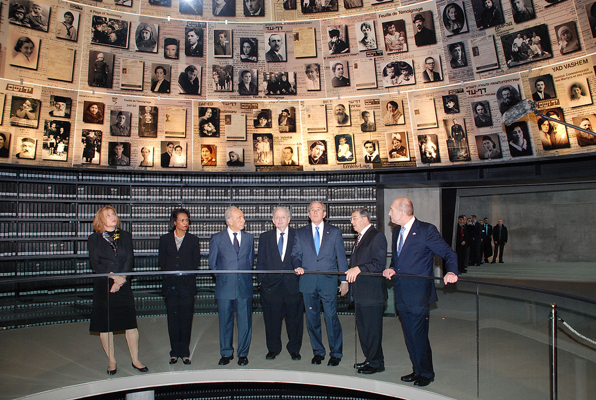 President Bush touring the Hall of Names in the Holocaust History Museum, guided by Chairman of the Yad Vashem Directorate Avner Shalev and accompanied (right to left) by Prime Minister Ehud Olmert, Chairman of the Yad Vashem Council Joseph (Tommy) Lapid,