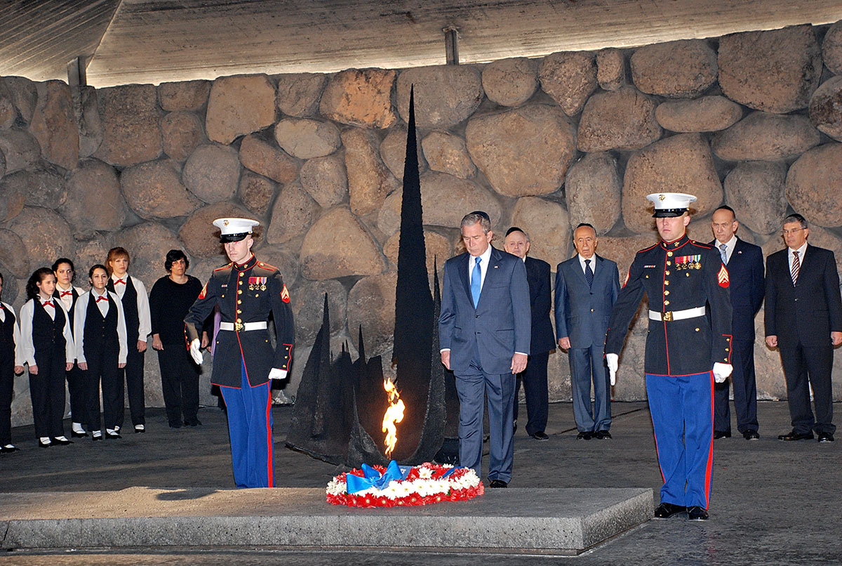 President Bush at a memorial ceremony in the Hall of Remembrance. In the background (RTL), Chairman of the Yad Vashem Directorate Avner Shalev, Prime Minister Ehud Olmert, President Shimon Peres, Chairman of the Yad Vashem Council  Joseph (Tommy) Lapid