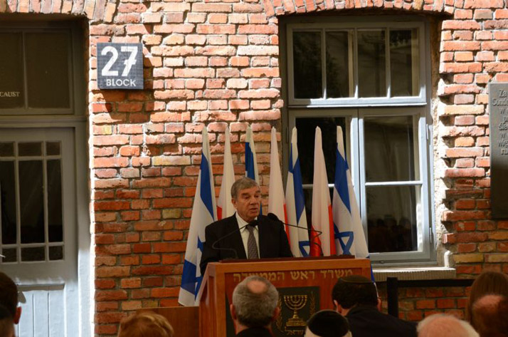 Yad Vashem Chairman and exhibition curator Avner Shalev speaking at the opening of the new permanent exhibition SHOAH in Block 27 at Auschwitz-Birkenau