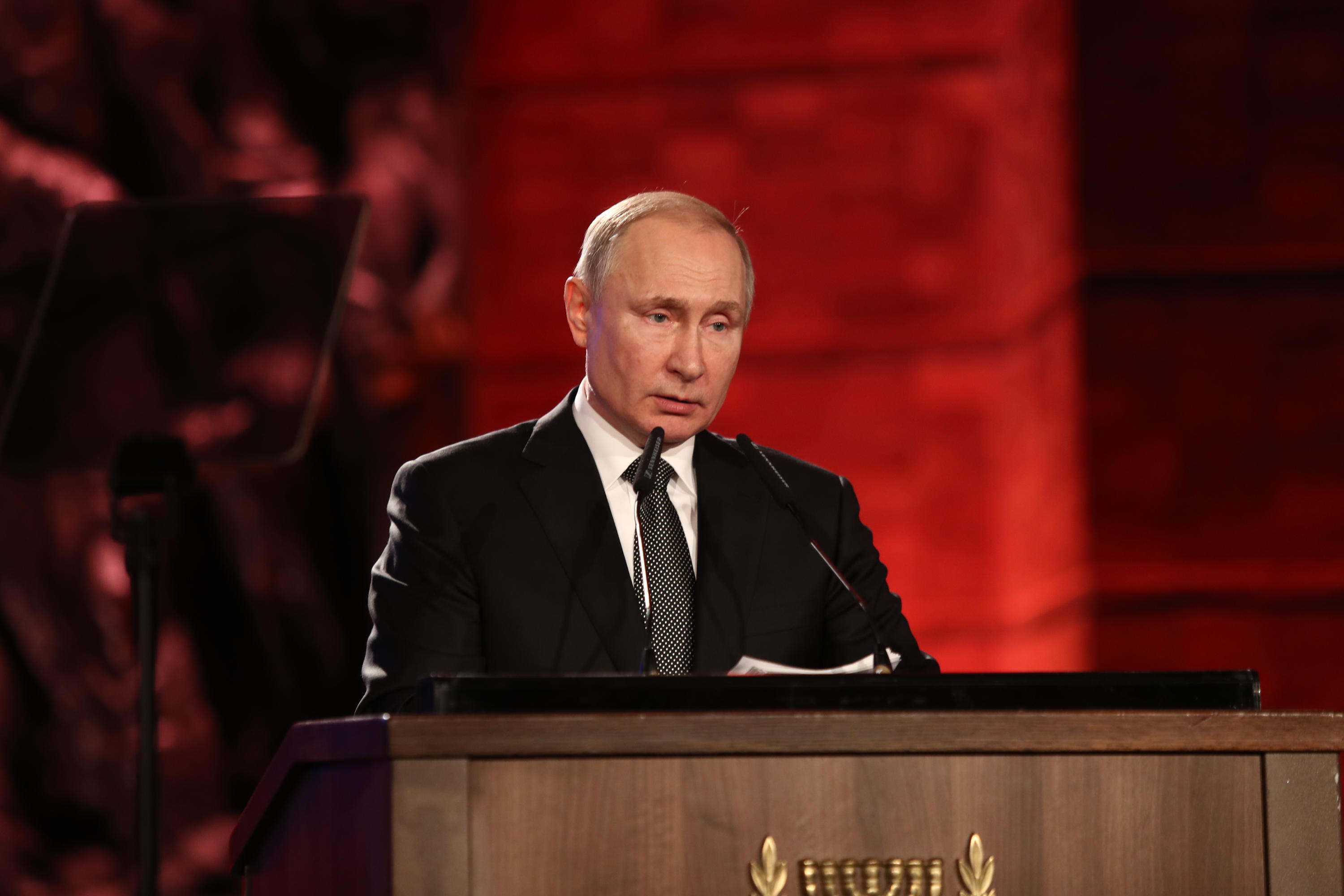 Russian President Vladimir Putin spoke to the distinguished group of leaders at the World Holocaust Forum