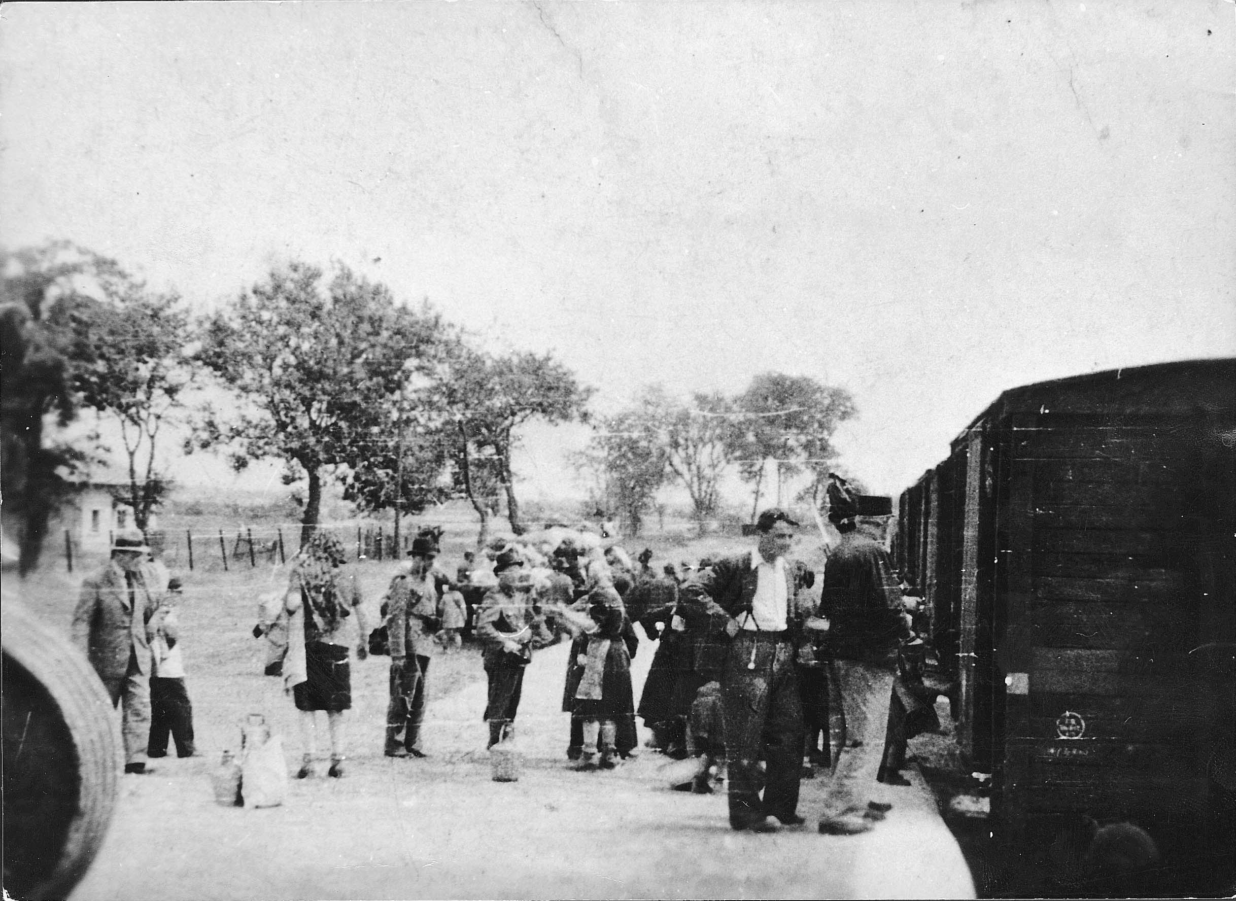 Soltvadkert, Hungary, Jews, being deported by Hungarian gendarmes, about to boarding a deportation train