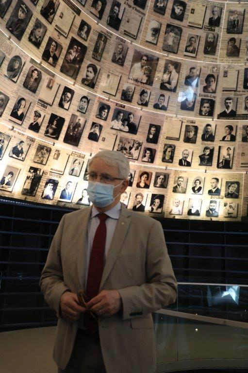 Foreign Minister of Canada Marc Garnea in the Hall of Names at Yad Vashem