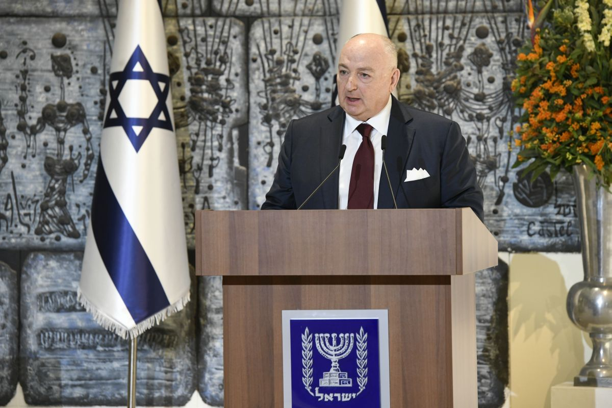 World Holocaust Forum Foundation President Dr. Moshe Kantor speaking at a press conference about the upcoming Fifth World Holocaust Forum