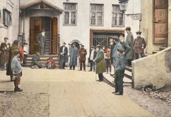 Postcard: A painting showing the exterior of the Old Synagogue in Vilna