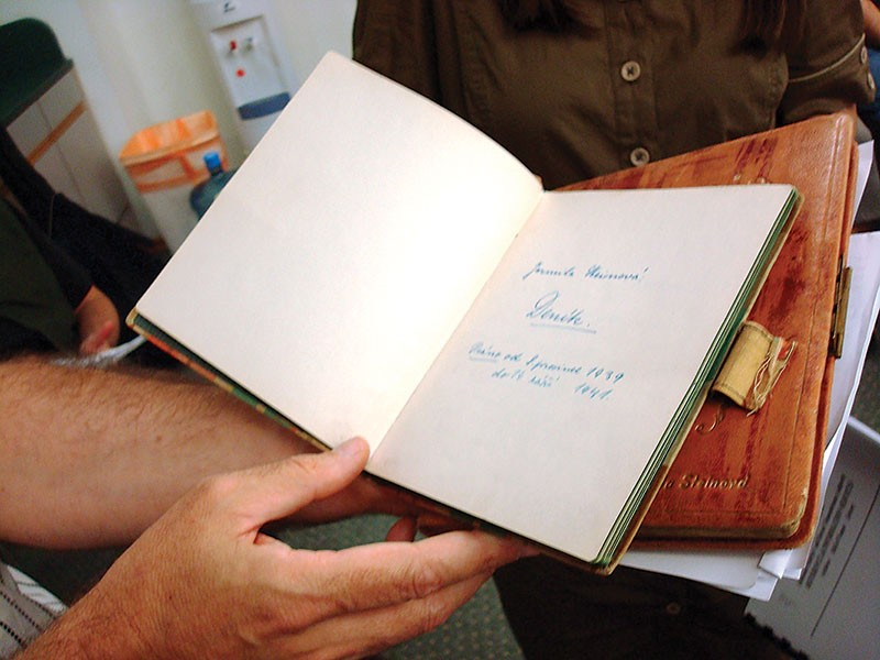 One of two wartime diaries kept by Shoa victim Jarmila Steinova and donated by Alice Lutwak