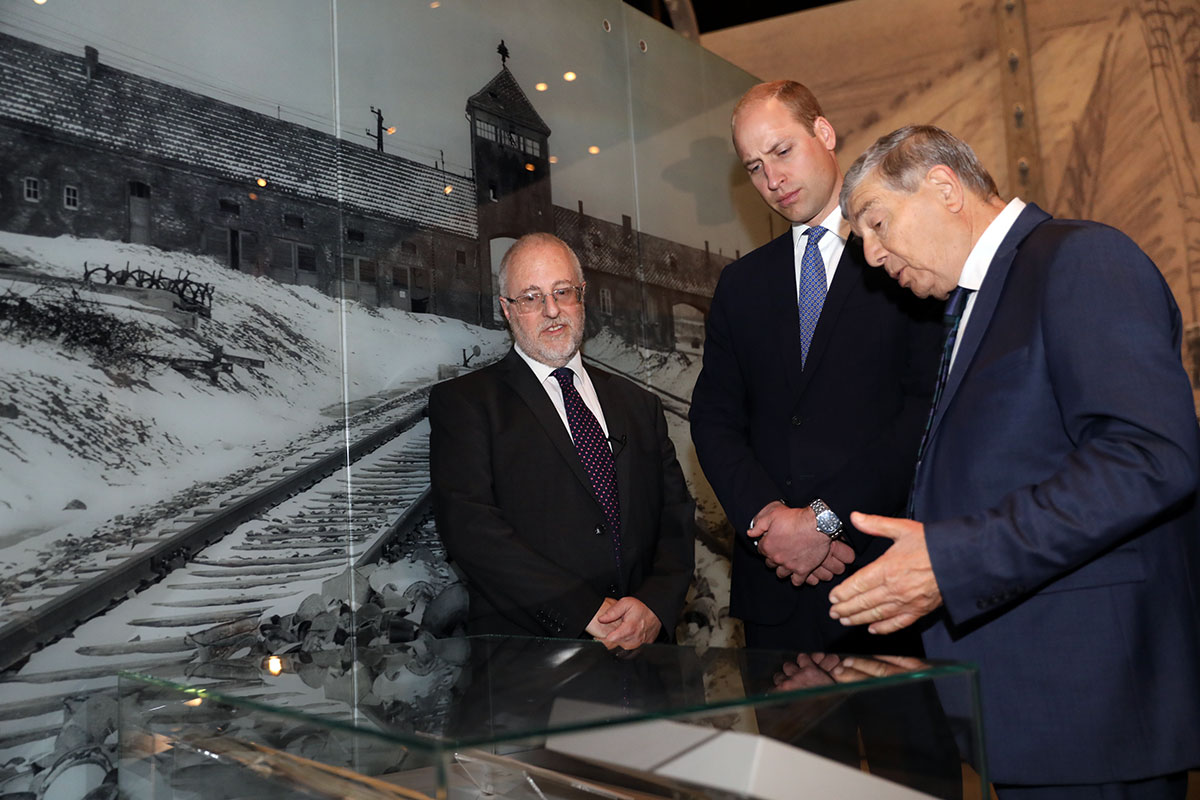 HRH Prince William, the Duke of Cambridge, Chairman of Yad Vashem Avner Shalev and Director of Yad Vashem Libraries Dr. Robert Rozett in the Yad Vashem Holocaust History Museum