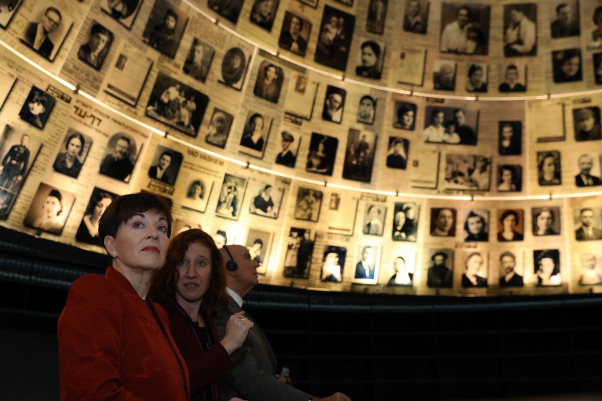 The Governor-General and her husband Sir David Gascoigne were guided through the Holocaust History Museum, including the Hall of Names, by Orit Margaliot of the International School for Holocaust Studies.