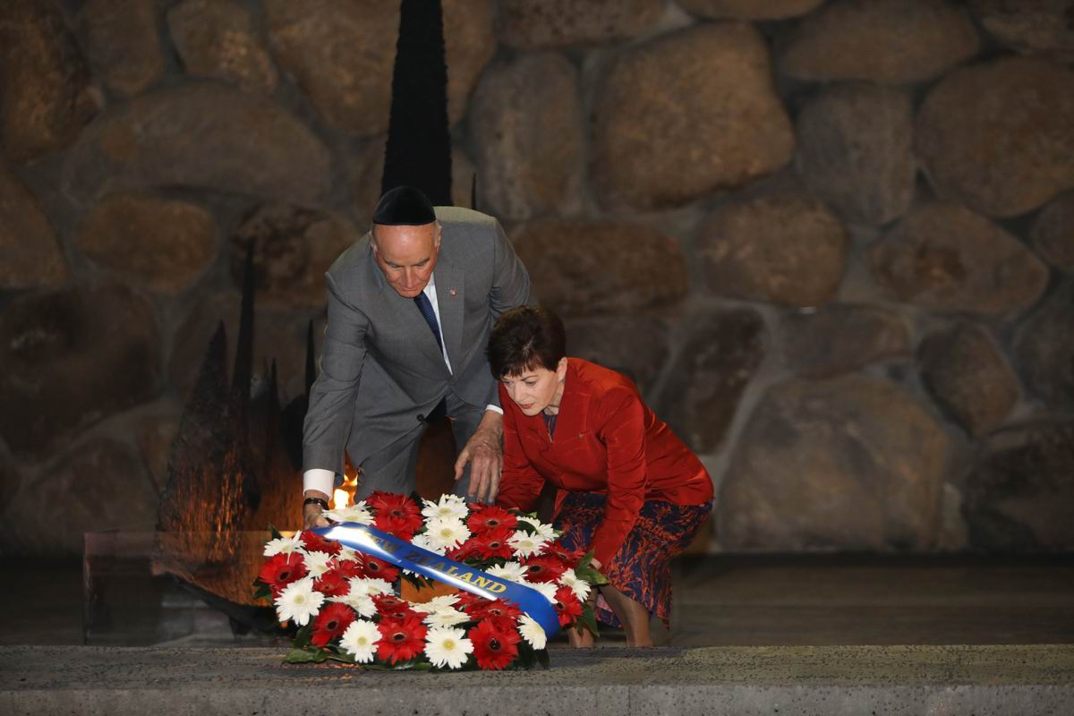 Governor-General Reddy and her husband Sir David Gascoigne lay a wreath in the Hall of Remembrance.