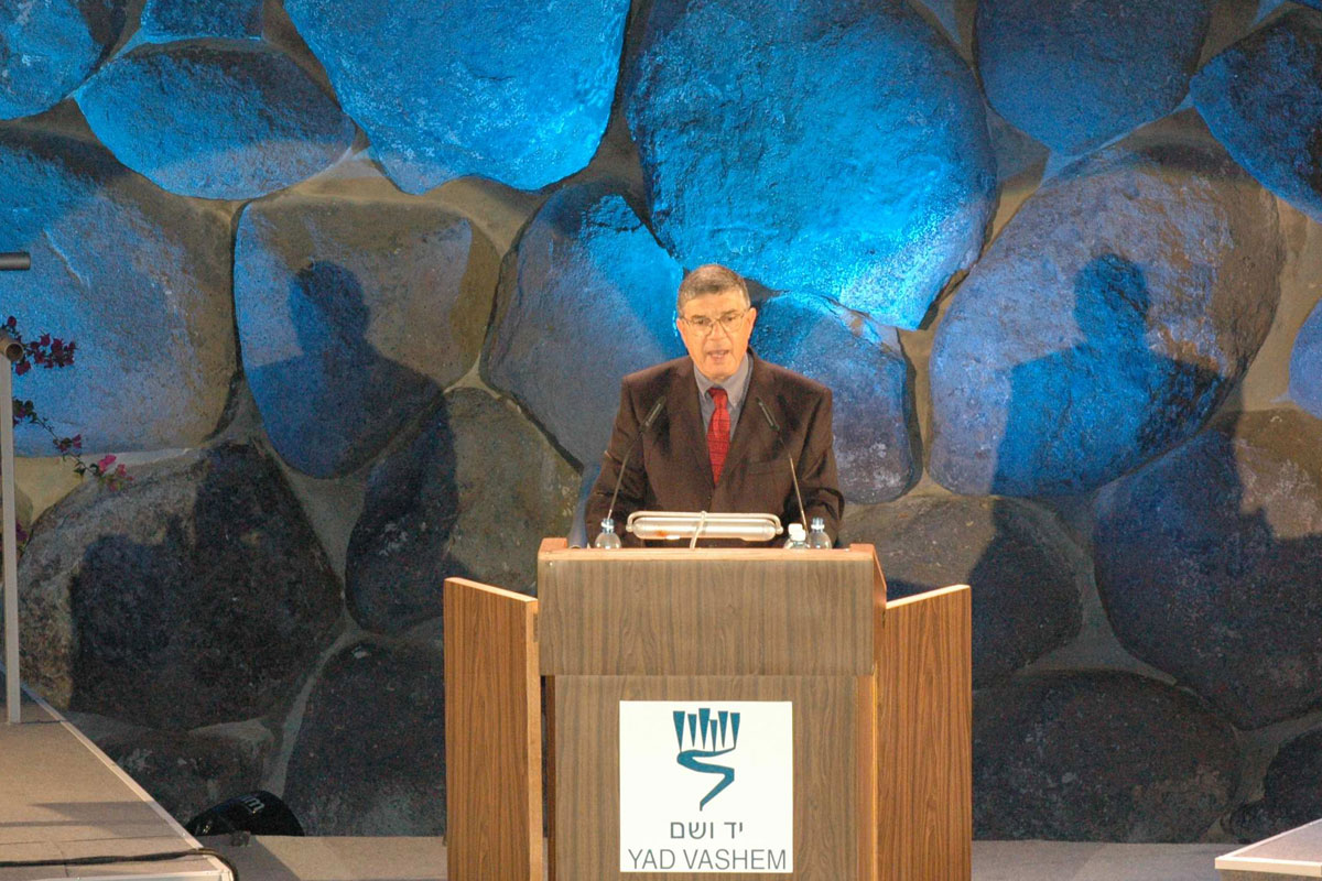 Chairman of the Yad Vashem Directorate Avner Shalev addresses the audience during the Inaugural Ceremony of the New Museum