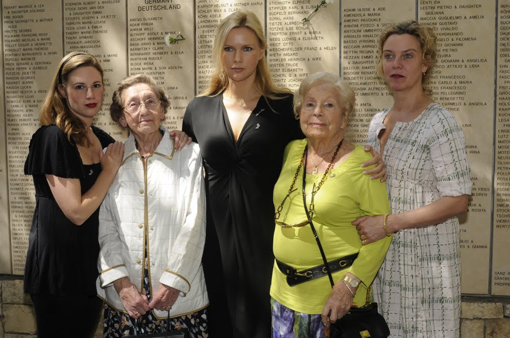 Marta Spiegel, Veronica Ferres, Anni Richter-Aschoff and Lia Hoensbroech, and Margarita Broich at Yad Vashem