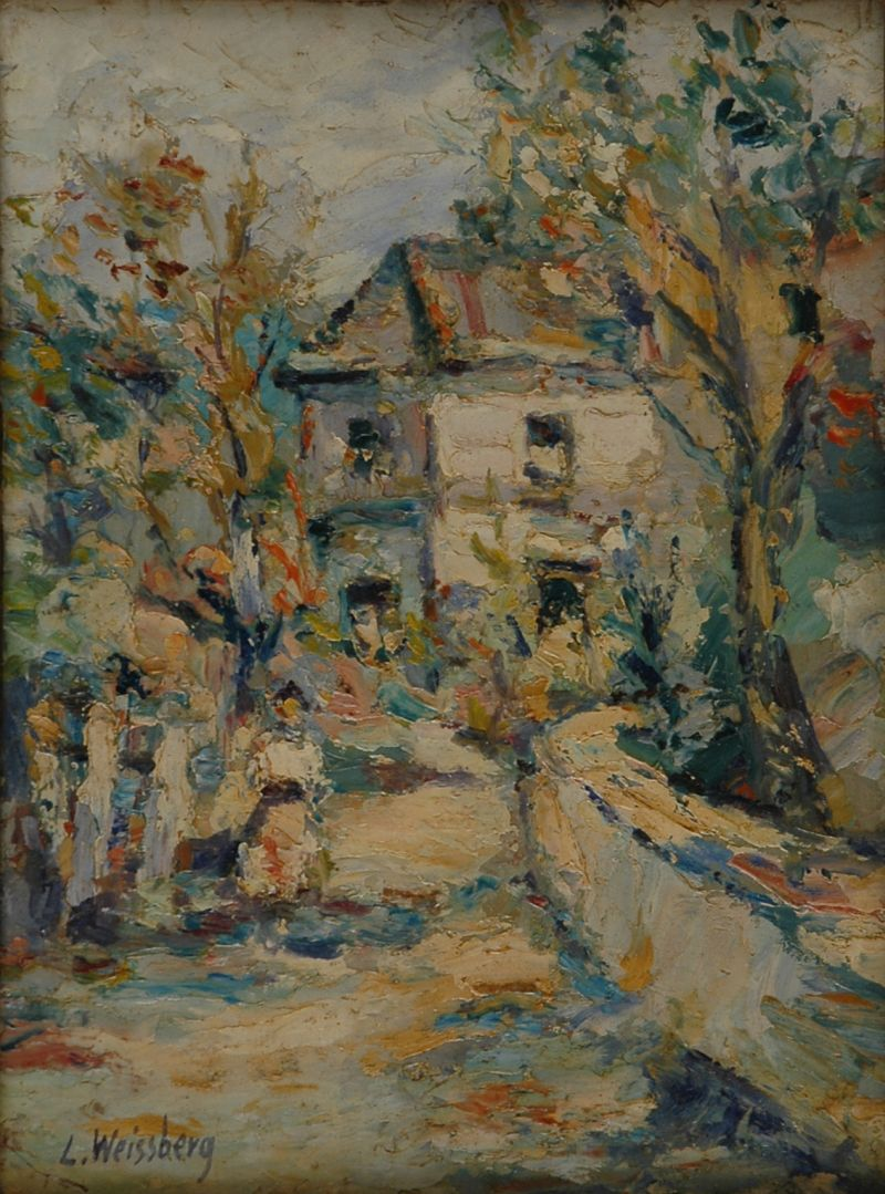 """""""House in the Sun, Entraygues-sur-Truyère,"""" 1942, painted by Leon Weissberg (1894-1943)"""