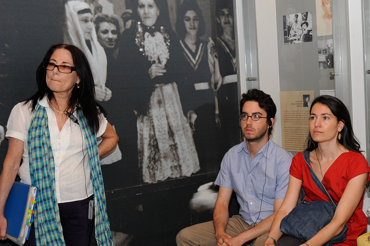 Jonathan Safran Foer and Nicole Krauss, guided by Yehudit Shendar (left) Deputy Director of the Museums Division at Yad Vashem, during a tour of the Holocaust History Museum