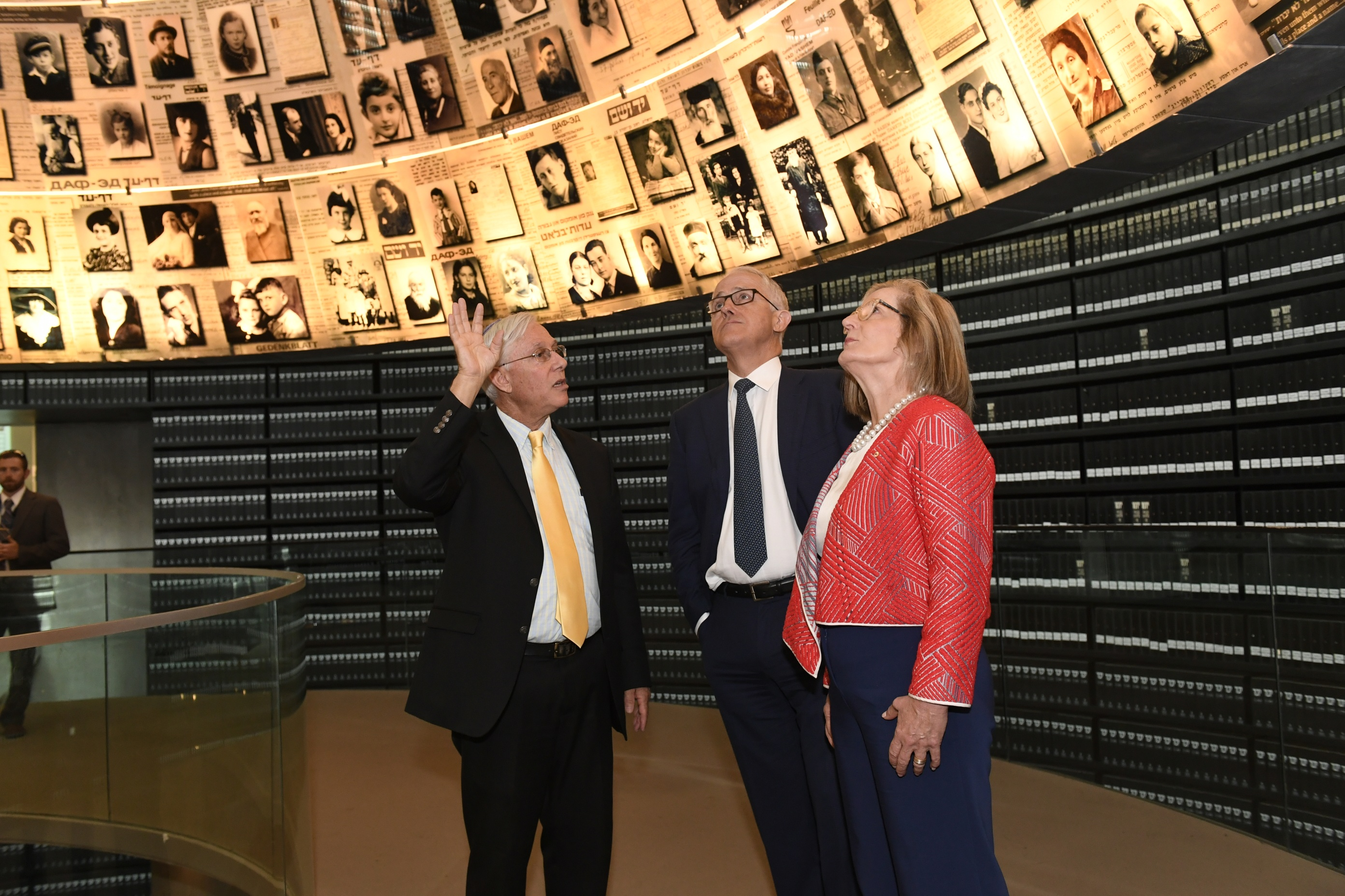 "The Prime Minster and his wife were guided through Yad Vashem by Ephraim Kaye of the International School for Holocaust Studies. Pictured: The Hall of Names, a ""symbolic tombstone"" to each Jewish man, woman and child murdered in the Holocaust"