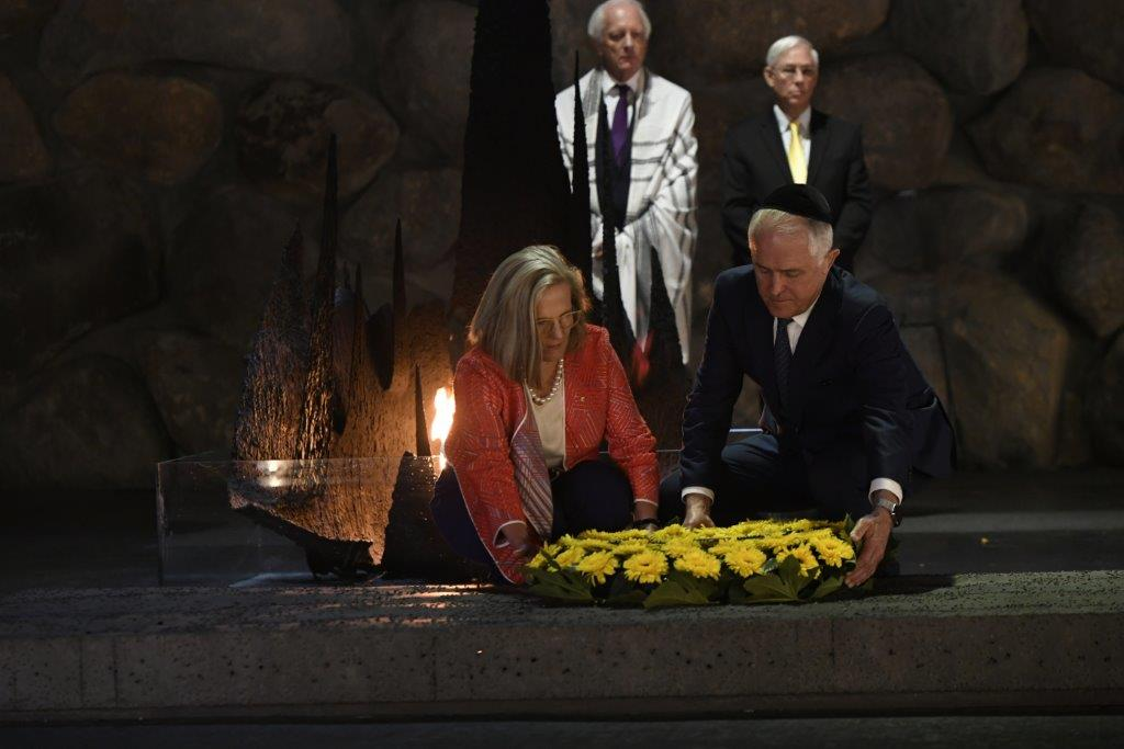 Australian Prime Minister The Hon Malcolm Turnbull MP and his wife Lucy laid a wreath in the Hall of Remembrance in memory of the six million Jews murdered during the Holocaust