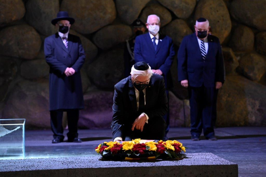 President of Germany Dr. Frank-Walter Steinmeier lays a memorial wreath in the Hall of Remembrance at Yad Vashem
