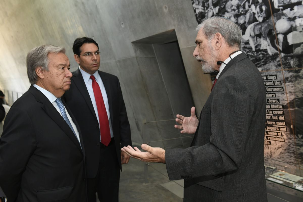 United Nations Secretary-General tours the Holocaust History Museum at Yad Vashem, the World Holocaust Remembrance Center