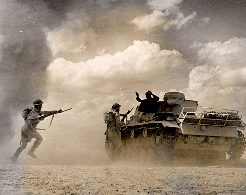North Africa, British soldiers capturing a German tank.
