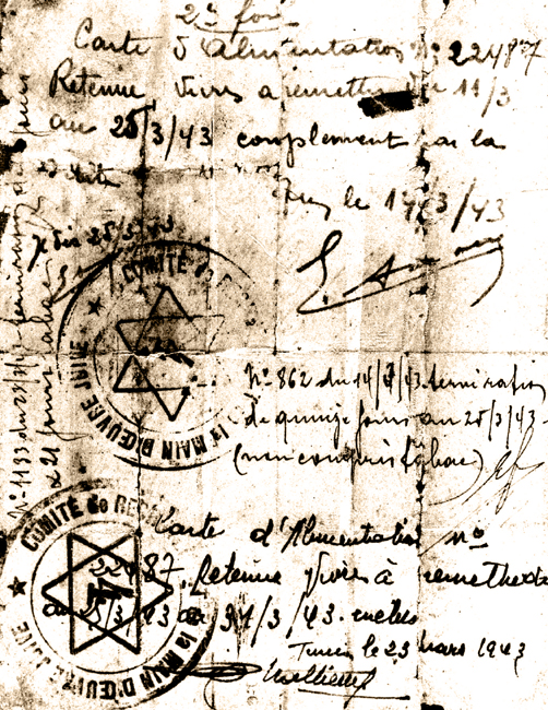 Tunis, Tunisia, A document confirming the receipt of food coupons during the Nazi occupation.