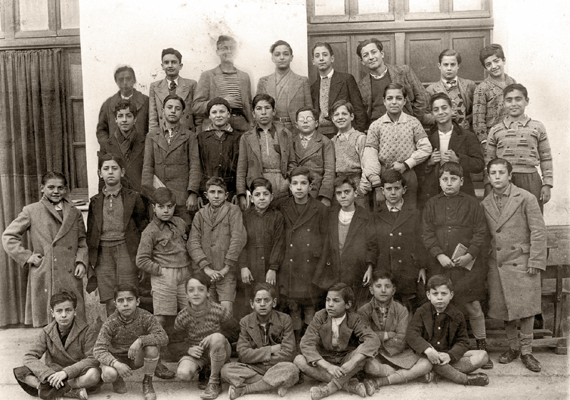 Tunis, Tunisia, Dan Efrat in a class photograph from the Rue de Colmar French school.