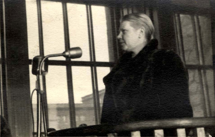 Cracow, Poland, A witness giving testimony at the Auschwitz Trial
