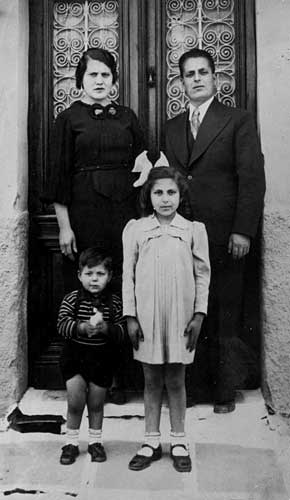 Family Portrait, 1936-37. Clockwise from top right: Josif Pepo Batis, father of the submitter; Artemis Batis Miron; her brother Salomon Makis Batis; her mother Eftichia Batis.
