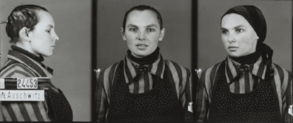 Photo of Bronislawa Limonowska, the alias of Bela Hazan, Courtesy of Auschwitz-Birkenau Memorial and Museum. Notice the symbol on the uniform that indicates Bela was arrested under her false identity as a Pole, not a Jew.