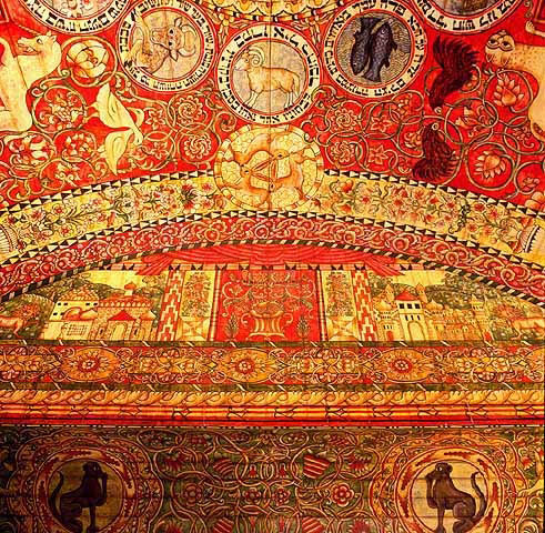 Detail from the ceiling of the Chodorow synagogue