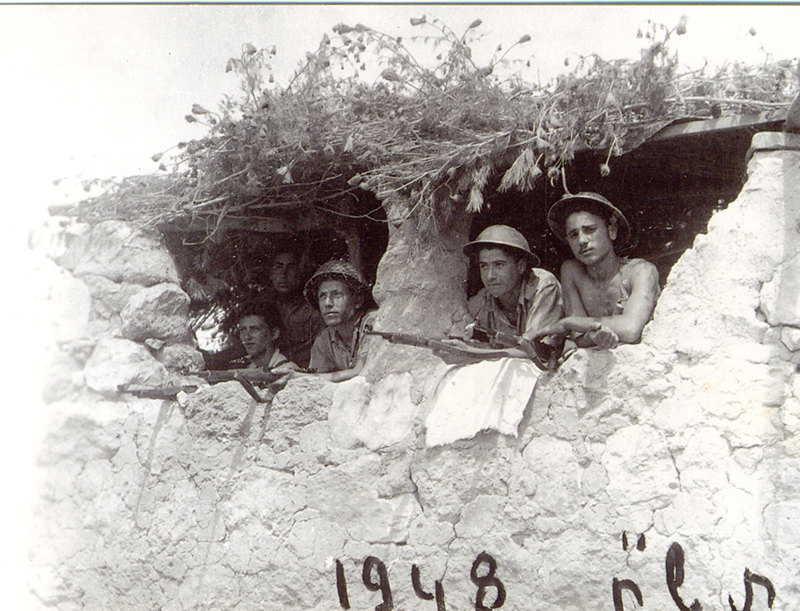 "Hativat ""Yiftach"" (Yiftach Brigade) of the Palmach during the Israeli War of Independence, 1948. Benjamin is on the far right."