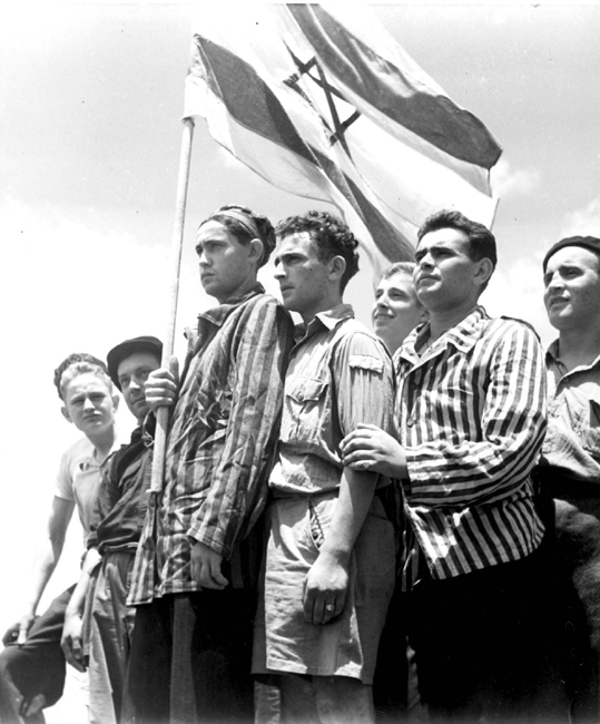 Haifa, Mandatory Palestine. Buchenwald Concentration Camp survivors arrive in Haifa on the immigrant ship RMS Mataroa, 1945.