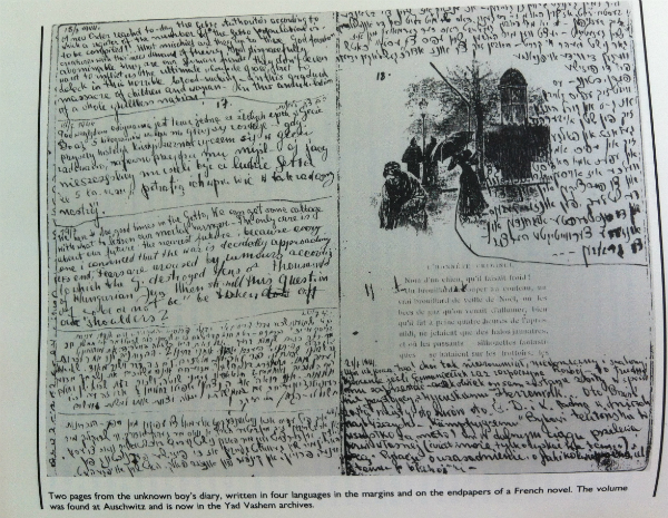 Pages from the diary of an anonymous young man, written in the margins of a French book in four languages, found at Auschwitz.