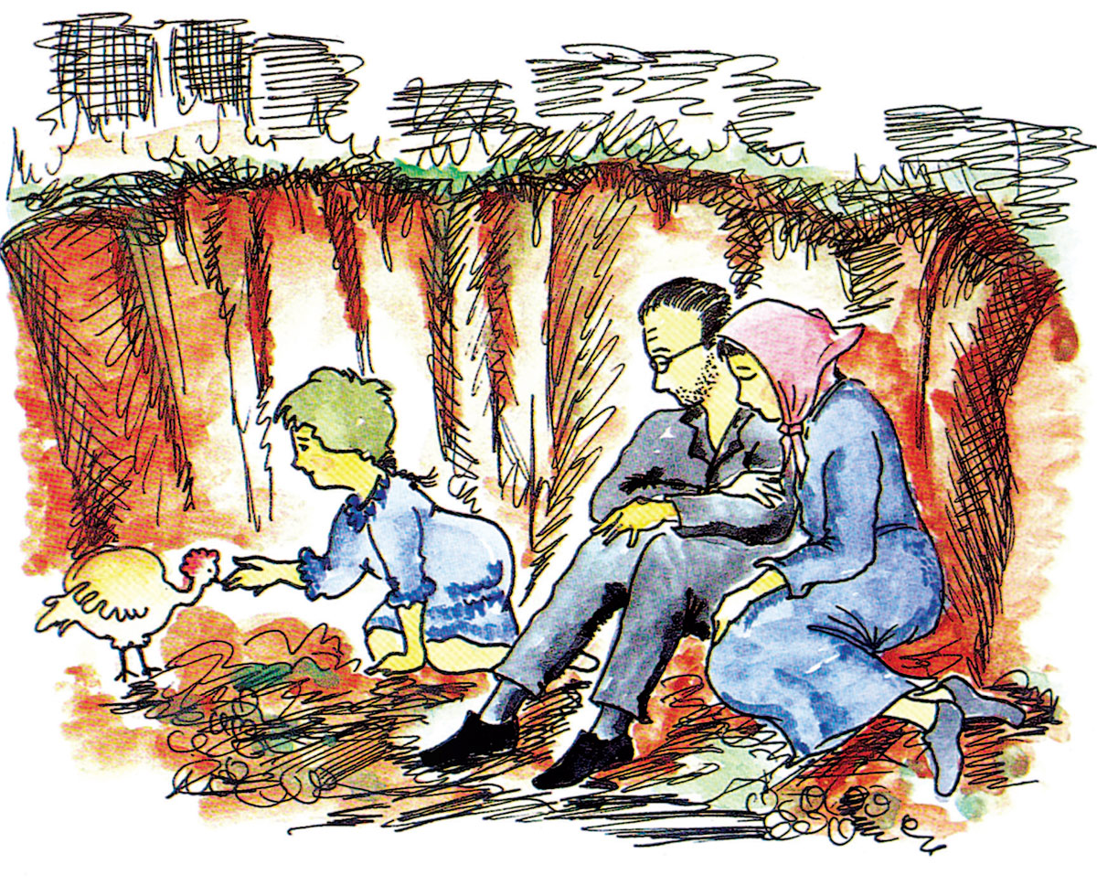 Hannah and her Parents in Hiding (Illustration from the Book)