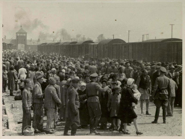 Hungarian Jews from Carpatho-Ruthenia undergoing selection on the ramp at Birkenau.